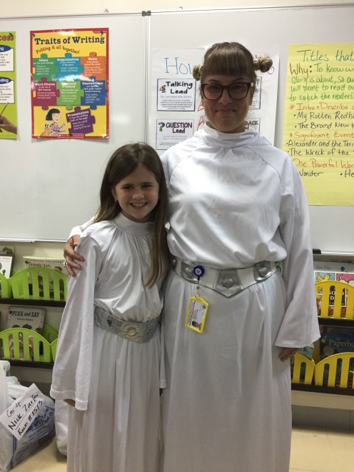 October 2016 - Doha, Qatar - Halloween day at American School of Doha - Nerd Princess Leia and her young apprentice!