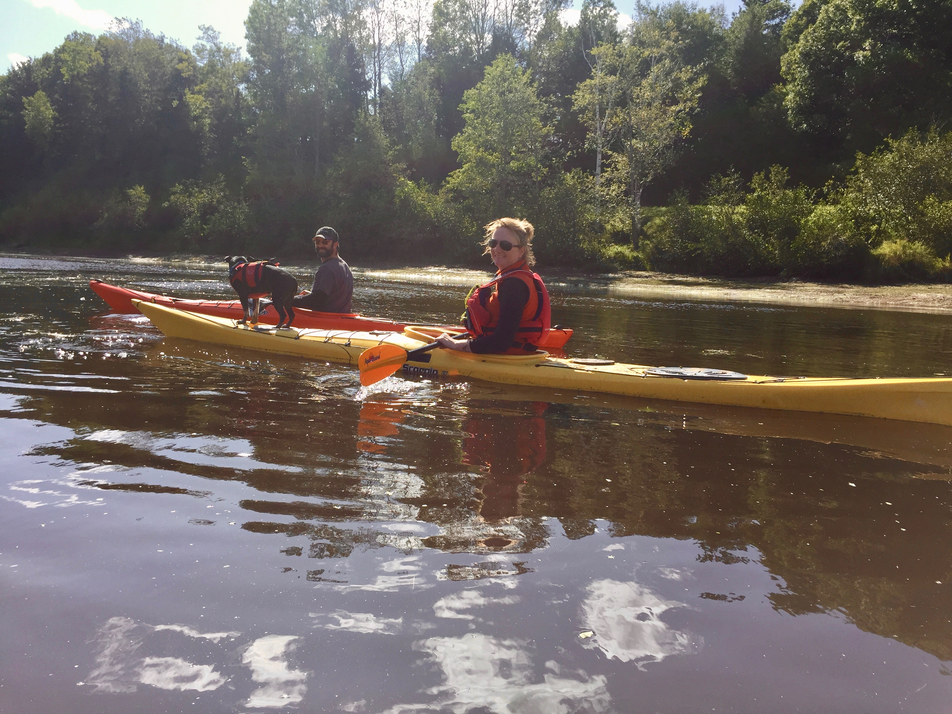 Windsor, Nova Scotia - Kayaking on the Avon River - Liz, Sam and Stanfield!