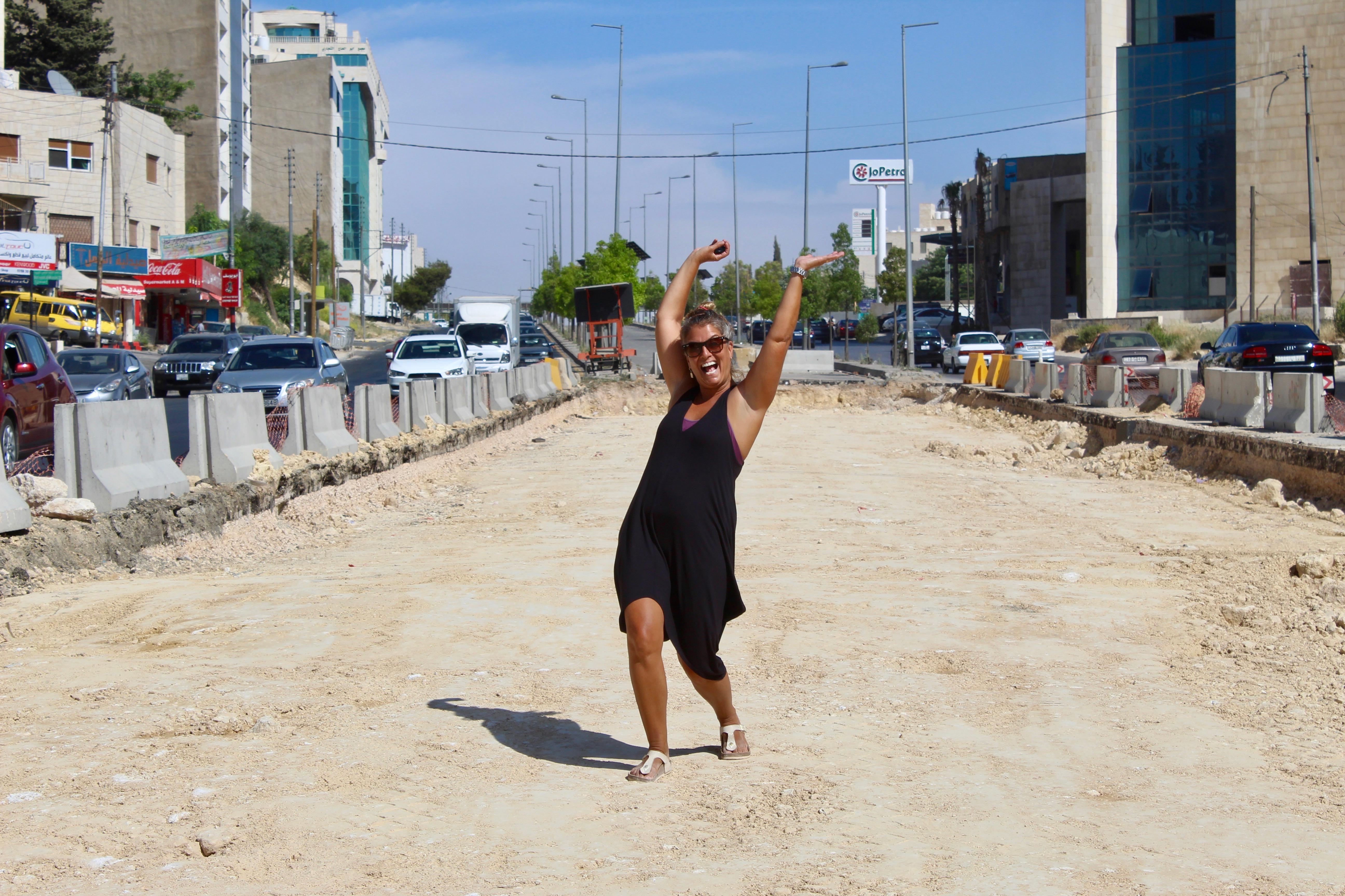 2019 - Amman, Jordan - Walking our own path along a busy street!