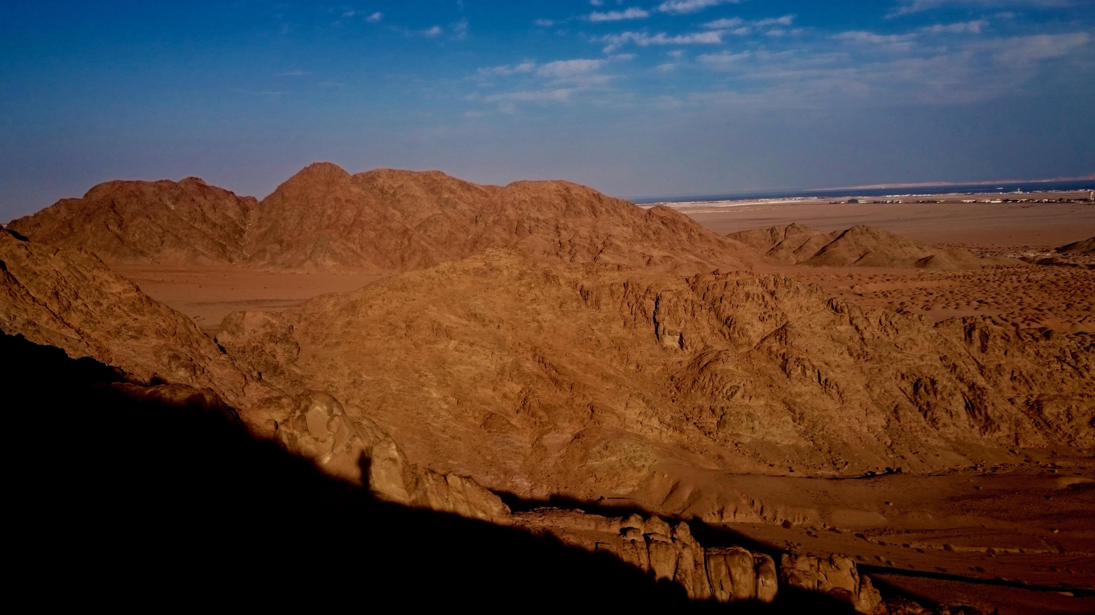 2015 - South Sinai Dessert, Egypt - My shadow on a low mountain ridge during the setting sun...