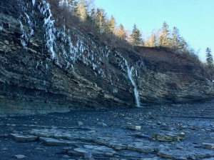 2019 - Blue Beach, Hantsport, Nova Scotia - Waterfall along the cliffs that line the beach