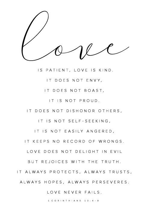 Love Is Patient Love is Kind - 1 Corinthians 13:4, 7-8
