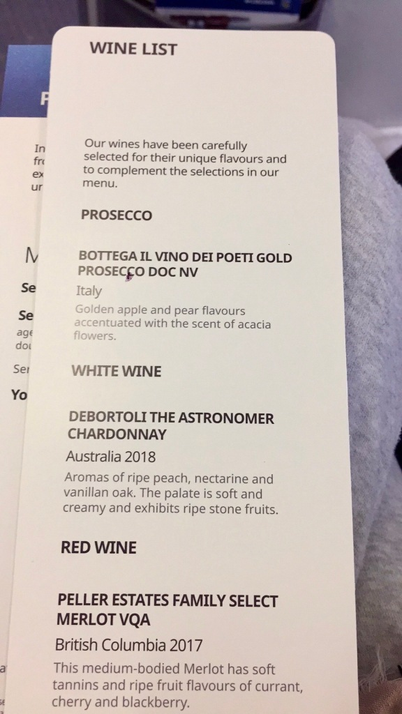 2019 - December - Business Class - WestJet - Wine list!