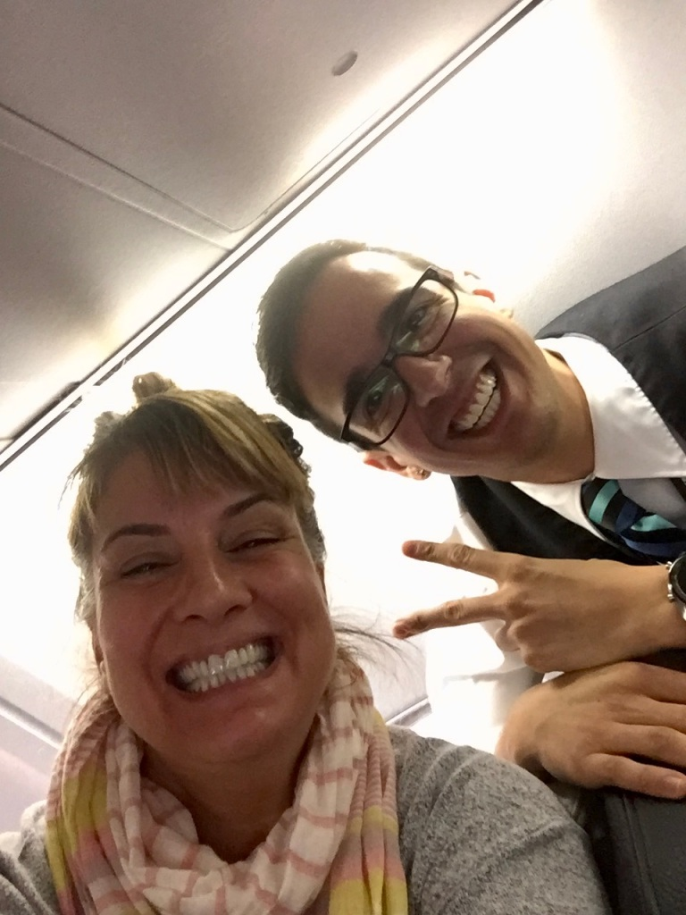2019 - December - Business Class - WestJet - Meet Chai (yes, like the tea!) - best flight attendant EVER!!!!