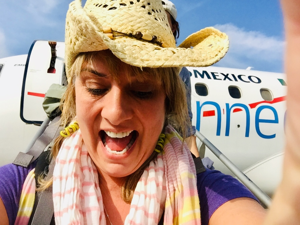 2019 - Air Mexico - Walking off the plane into tropical, hot weather!! YES!!!!! WOOHOO!!!!!