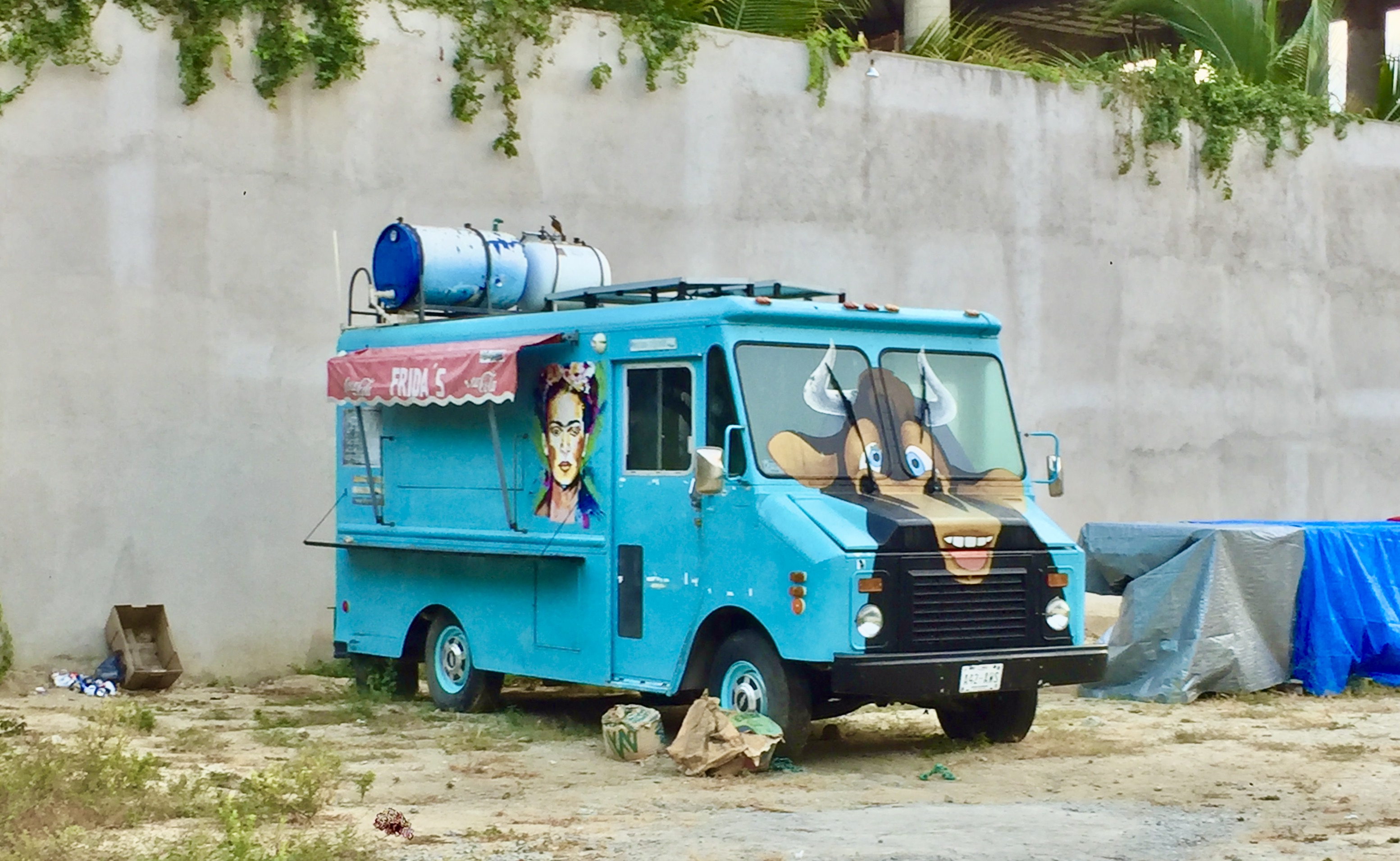 Chahué Beach, Chahué Bay, Huatulco, Mexico - Ferdinand the bull & Frida Kahlo painted on an abandoned food truck