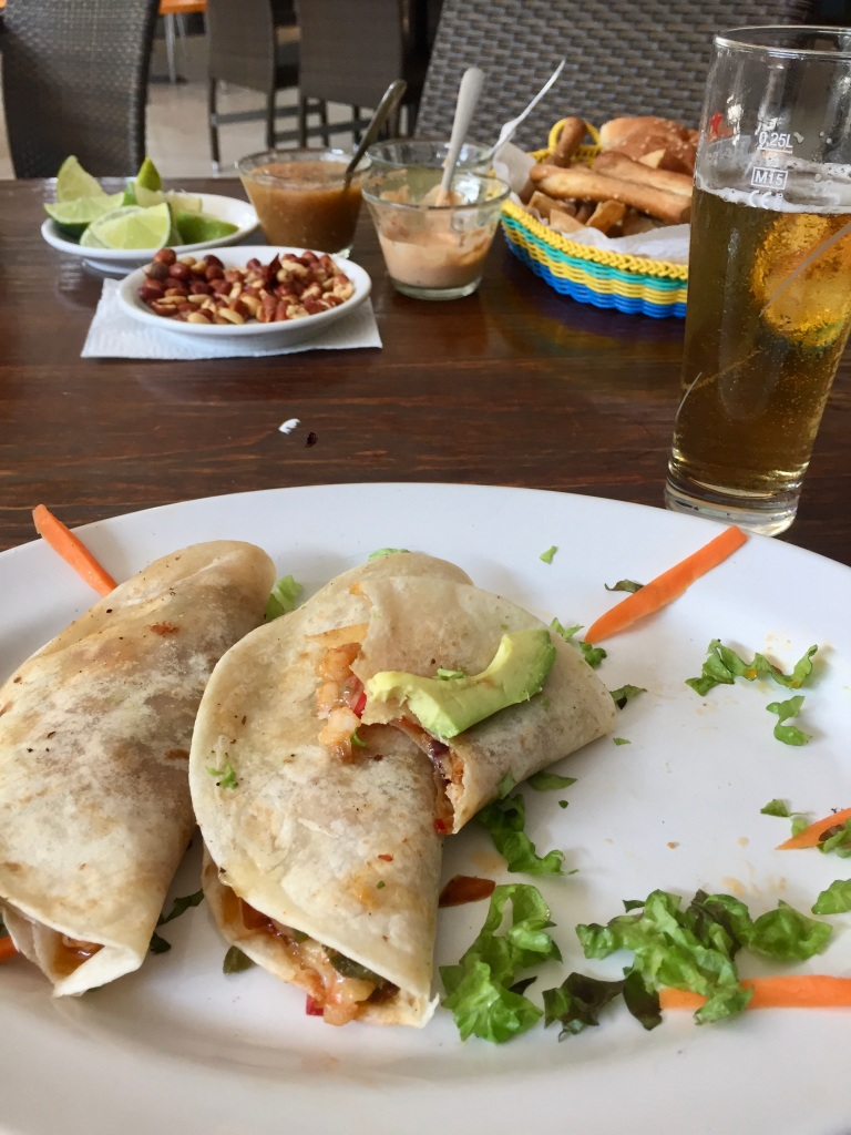 2019 - Chahué Bay, Huatulco, Mexico - Tomas Beach Huatulco - Joyful Stephanie - Shrimp and avocado tacos!! These were DELICIOUS!!!!!!!!!!