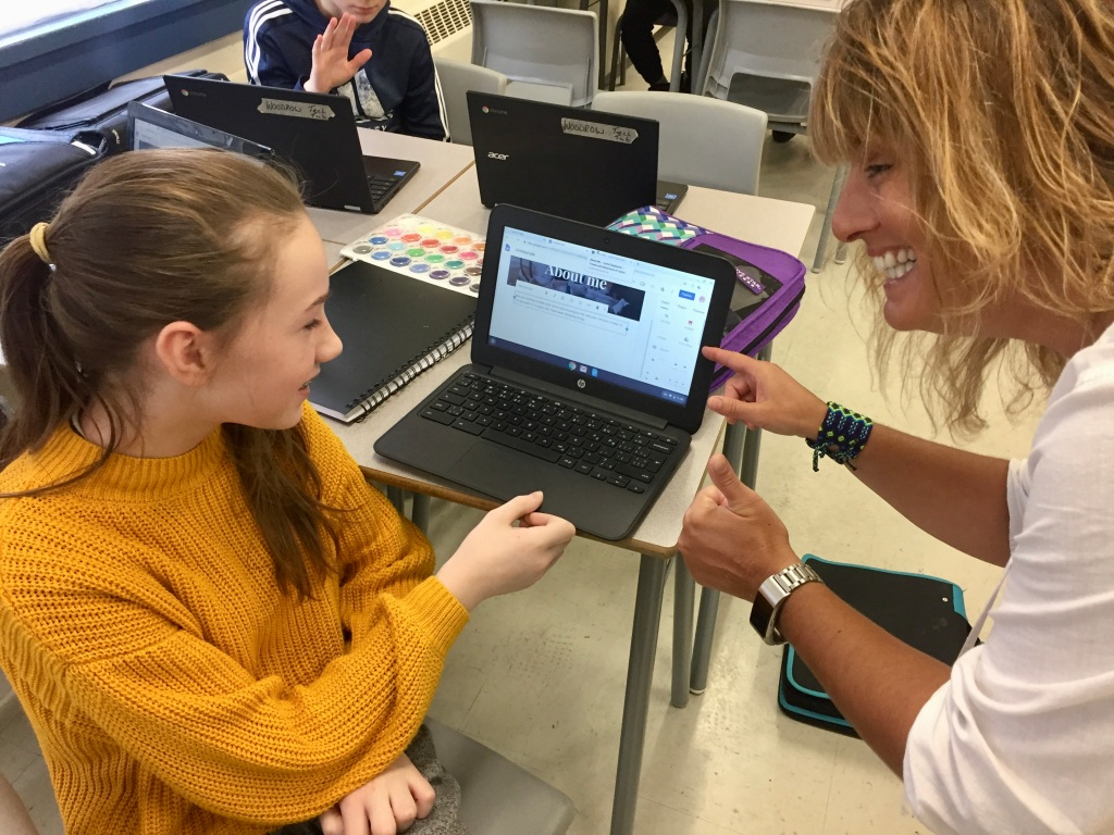 January 13th, 2020 - Georges P. Vanier Junior High School - About Me - Joyful Stephanie - Looking at what students have so far!