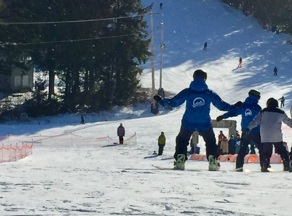 2020 - January - Ski Martock - My instructor - private lessons - Shannon - showing me how to slide - heel down - straight - down the bunny hill!