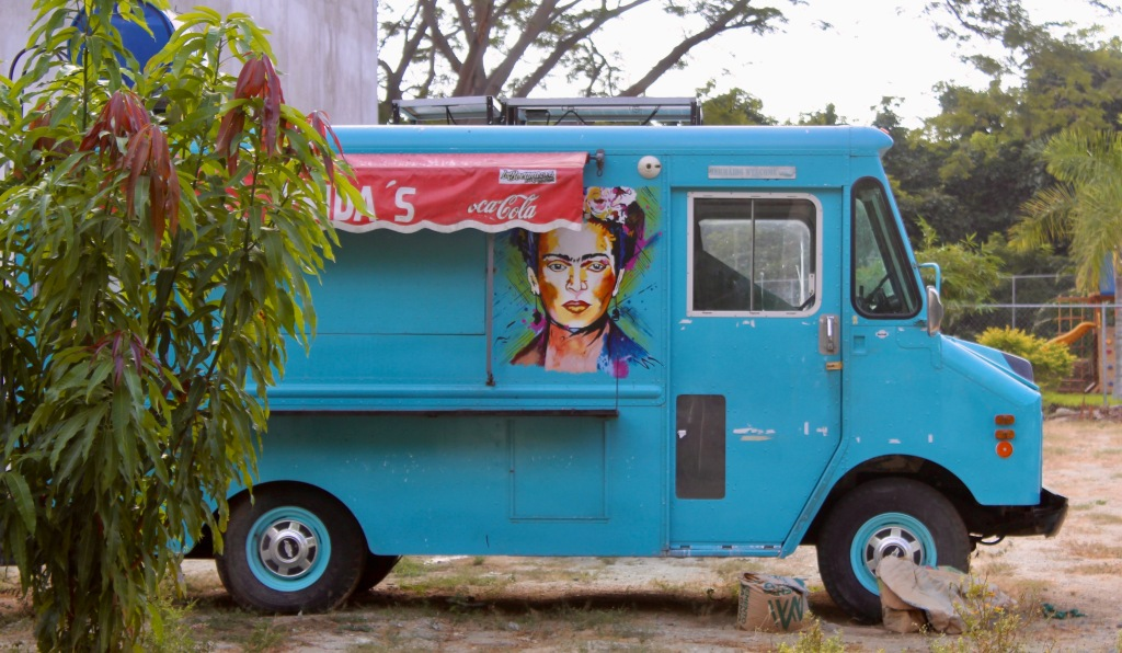 Chahué Beach, Chahué Bay, Huatulco, Mexico - Walking by the Ferdinand the bull & Frida Kahlo painted on an abandoned food truck