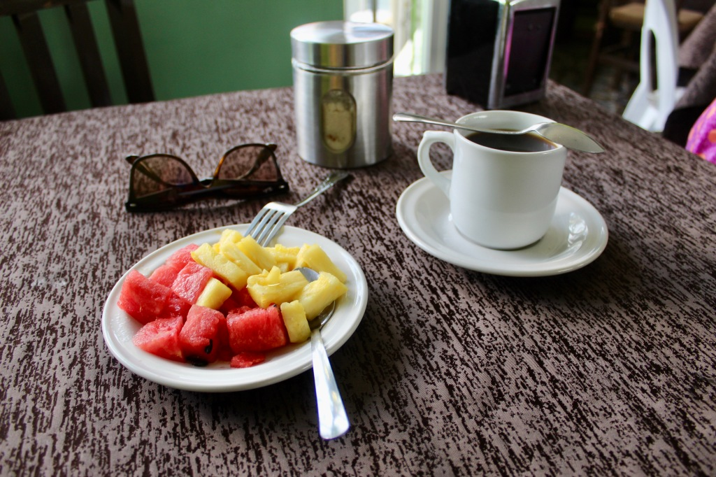 2019 - Chahué Bay - El Pibe de La Plata restaurant - My order started with fresh fruit and coffee