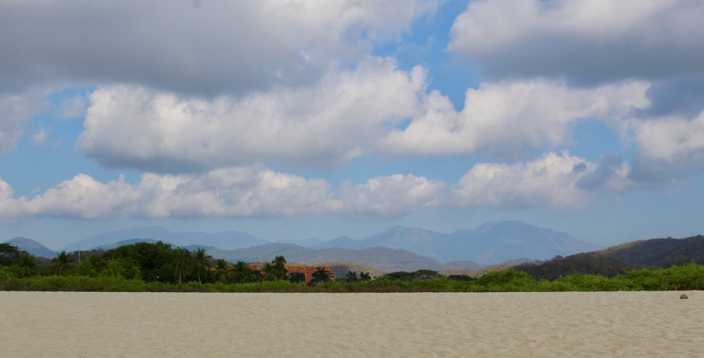 2019 - Chahué Bay, Chahue Beach, Huatulco, Mexico - Looking directly behind the beach, at the mountains in the distance