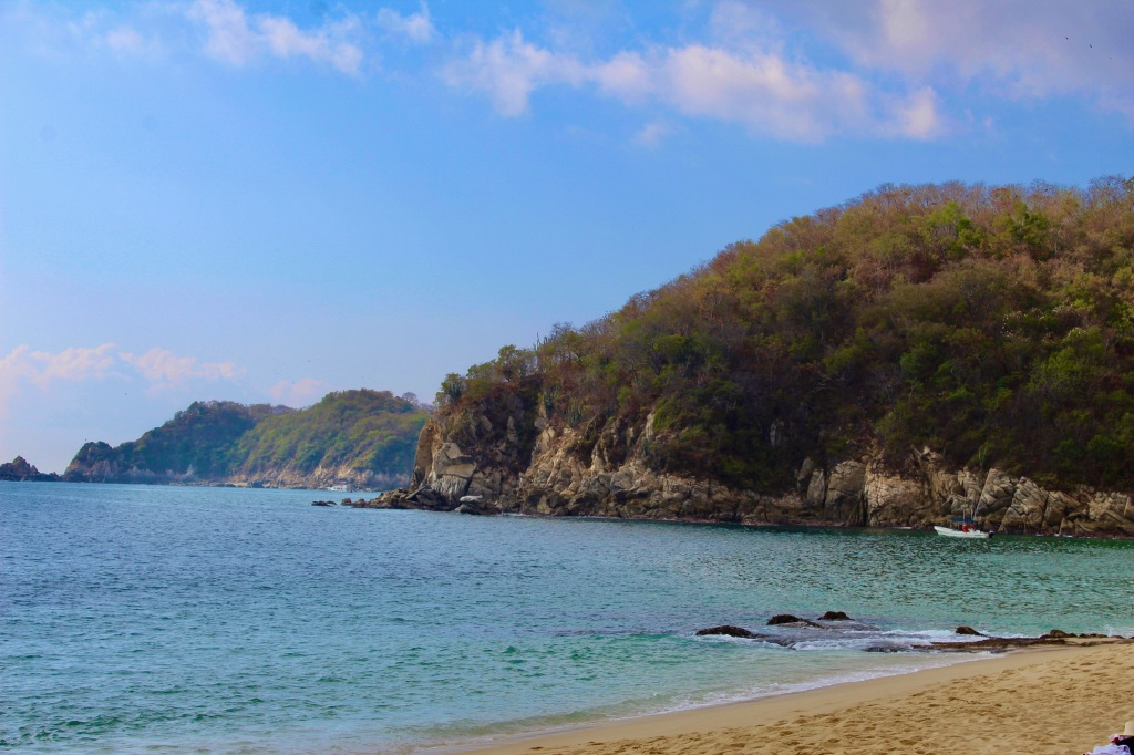 2019 - Chahué Bay, Chahue Beach, Huatulco, Mexico - Lots of fishing boats in the bay