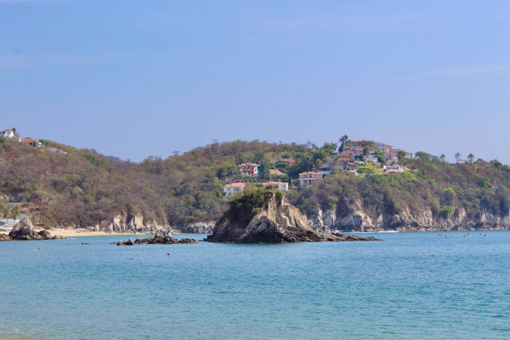 2019 - December - Tangolunda Beach, Huatulco, Mexico - Looking way left - at the Mexico flag on the island