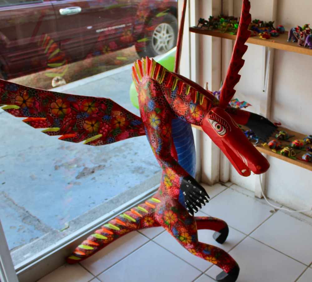 2019 - Huatulco, Mexico - New Year's Eve Day - Downtown La Crucecita - Oaxacan Wood Carvings - Dragon
