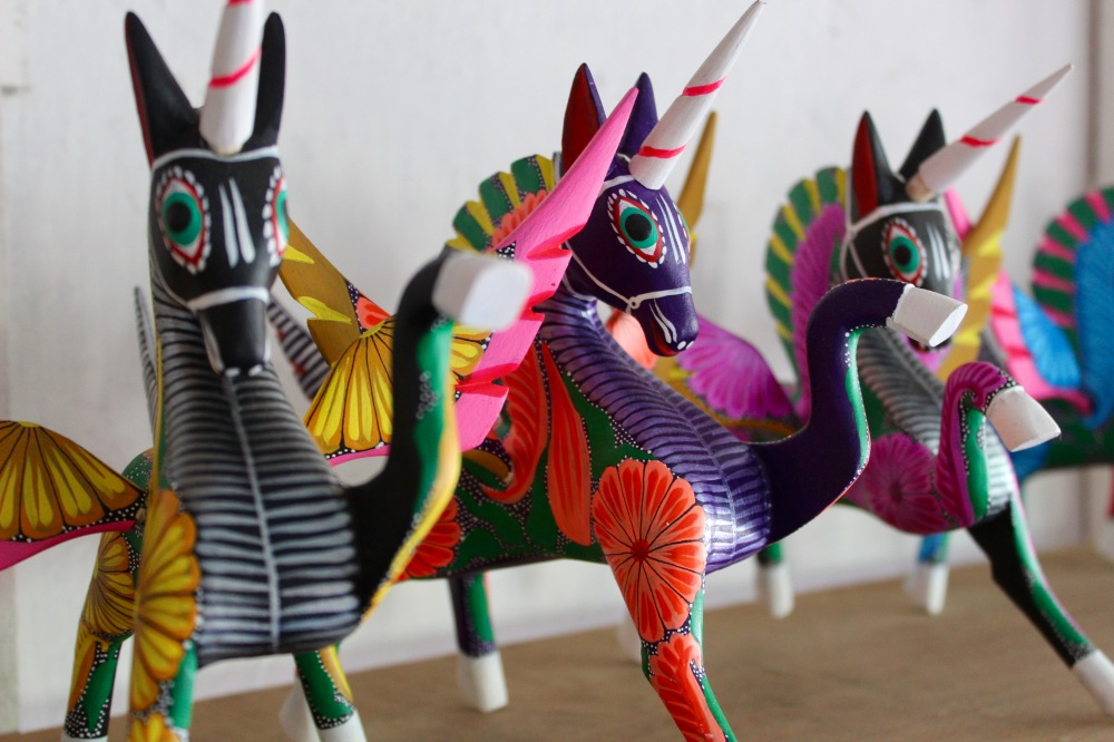 2019 - Huatulco, Mexico - New Year's Eve Day - Downtown La Crucecita - Oaxacan Wood Carvings - Unicorns