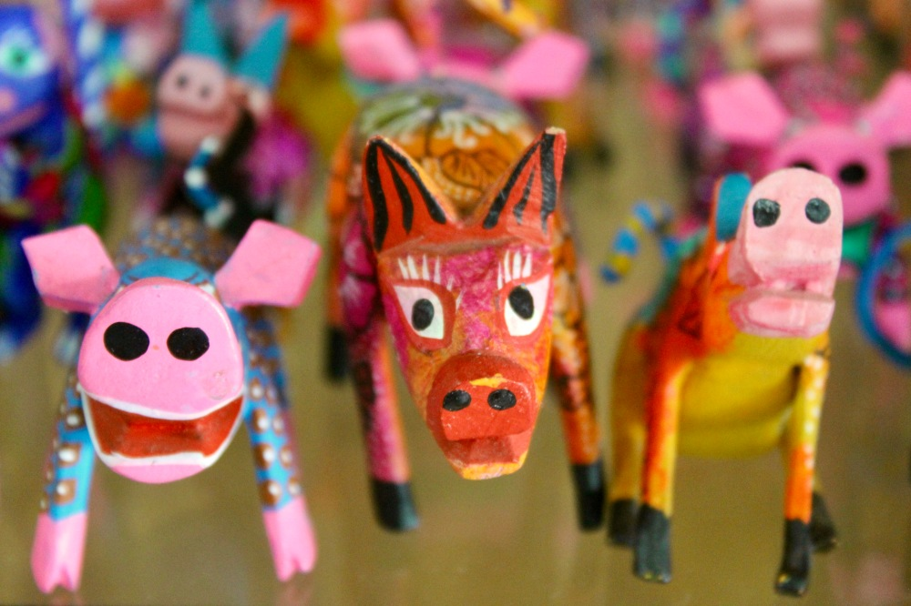 2019 - Huatulco, Mexico - New Year's Eve Day - Downtown La Crucecita - Oaxacan Wood Carvings - Pigs