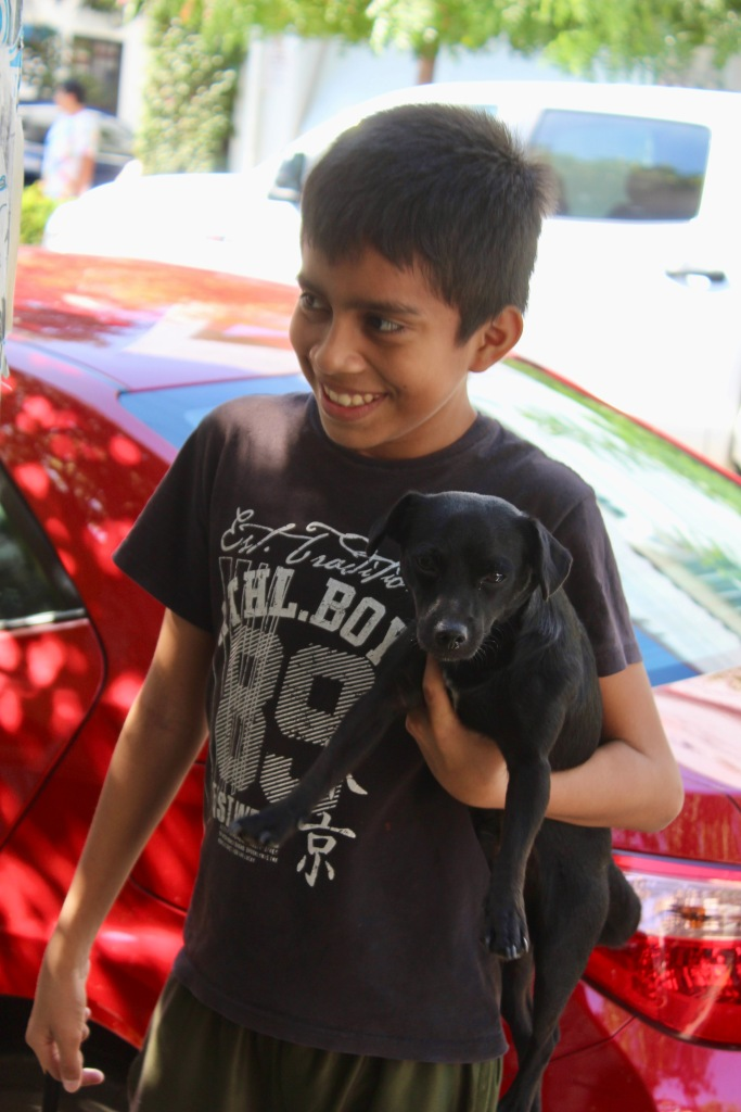 2019 - Huatulco, Mexico - New Year's Eve Day - Downtown La Crucecita - Young boy and his puppy!