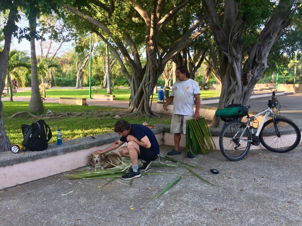 2020 - January 2nd - Huatulco, Mexico - La Crucecita - Morning run with Stephanie - Plaza Guelaguetza - Hat maker and his dog