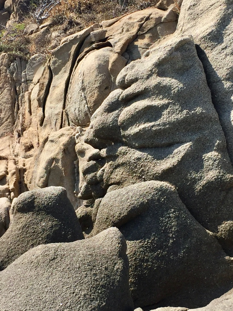 2020 - January 2nd - Huatulco, Mexico - Conejos Beach - Rock Formations - Ancient face carved in the rock?