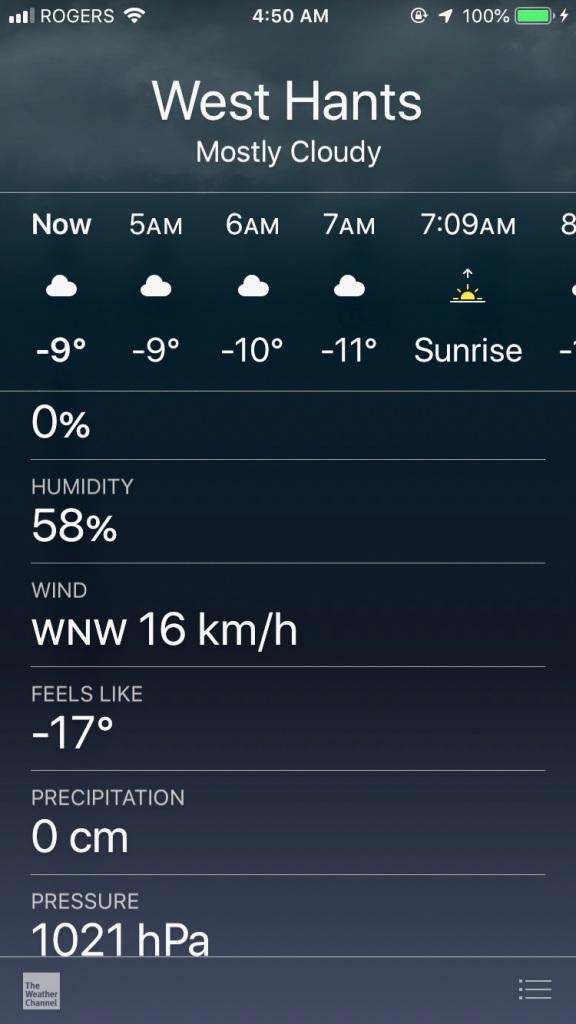 February - Thursday - Brrrrrrrr!! Feels like -17° Celsius with the windchill factor