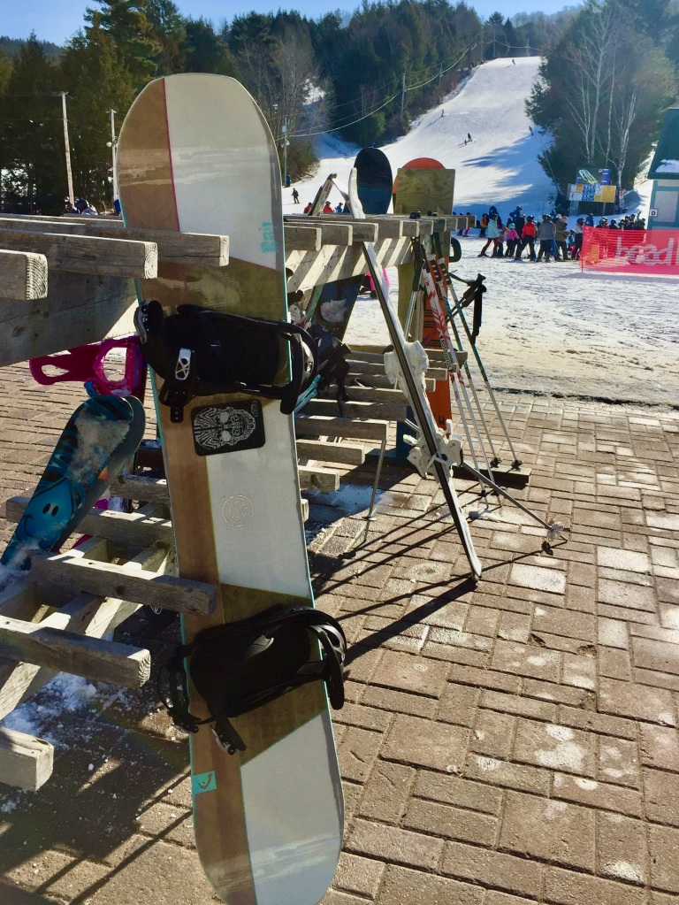 February 2020 - Martock Ski Hill - Setting my board aside before entering the clubhouse to pay for my private lesson! Love my board!!!
