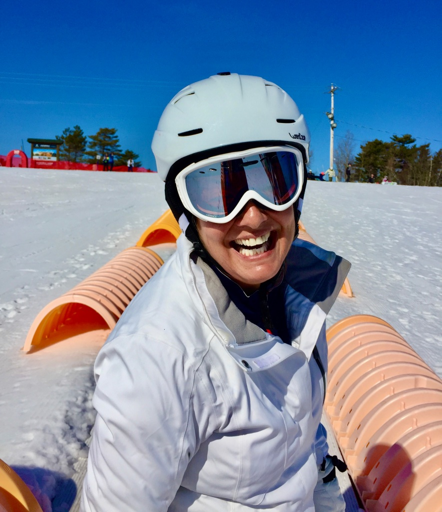 February 2020 - Martock Ski Hill - On the Magic Carpet! Beautiful day for my 5th snowboarding lesson!!
