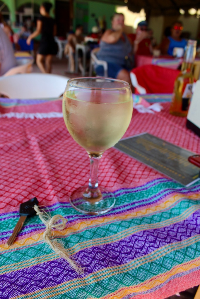 2020 - January 2nd - Huatulco, Mexico - La Bocana Beach - Los Güeros Restaurant - Now THIS is a glass of wine!!