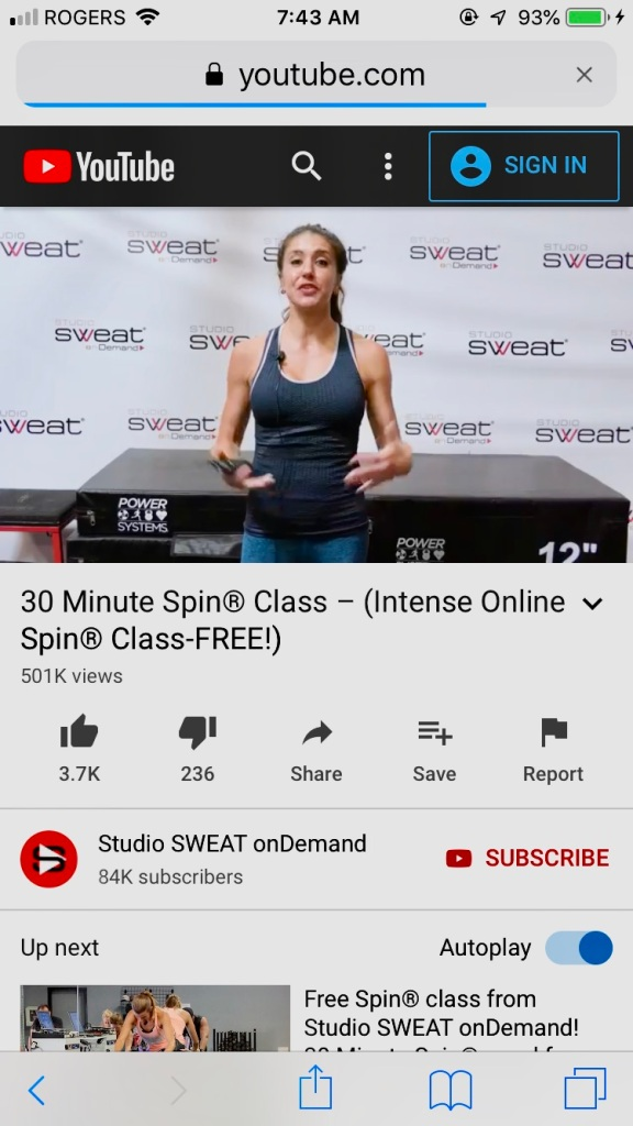 March, 2020 - Campbell River, Vancouver Island, British Columbia - Lady Fit Gym during COVID-19 - Free YouTube Spin Class Video I followed!!