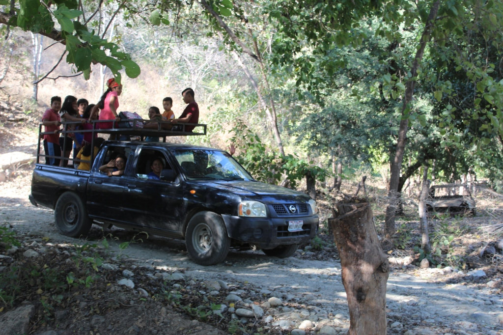 January 2nd, 2020 - Huatulco, Mexico - Looking for the town of Copalita - Driving along Copalita River - Local traffic!