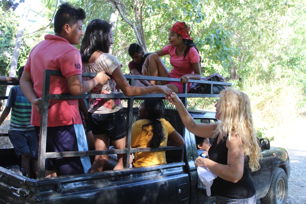 January 2nd, 2020 - Huatulco, Mexico - Looking for the town of Copalita - Driving along Copalita River - Seasoned tourist Patricia has candy in her purse for children!