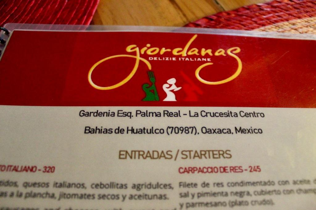 January 3rd, 2020 - Huatulco, Mexico - La Crucecita - Dinner at Giordanas Italian restaurant