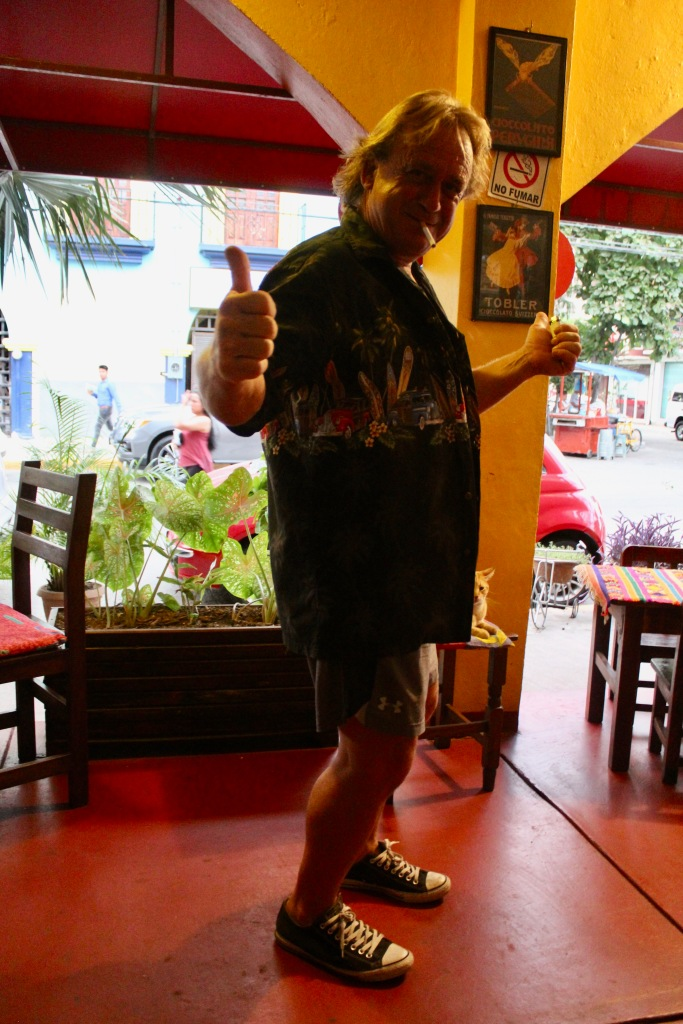 January 3rd, 2020 - Huatulco, Mexico - La Crucecita - Dinner at Giordanas Italian restaurant - Joel going for a smoke