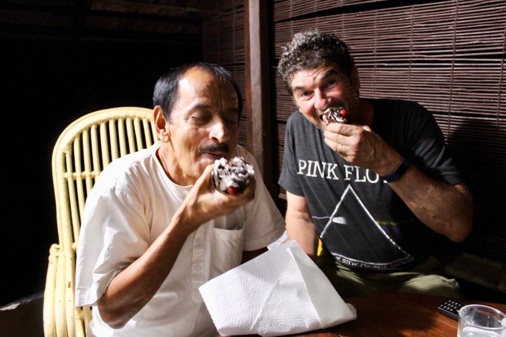 Mararikulam North, Kerala, India - April 25th, 2019 - Dr. Raj - My Reiki Master Teacher and Michael having cake Michael bought for me!