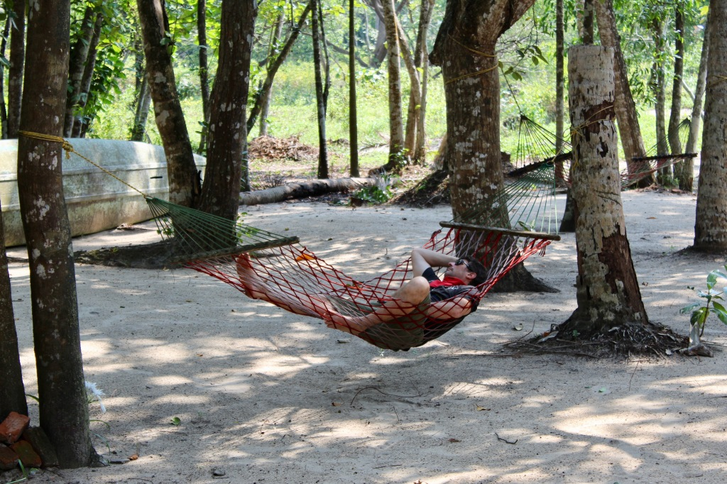 Mararikulam North, Kerala, India - Michael relaxing in a hammock in front of out cottage