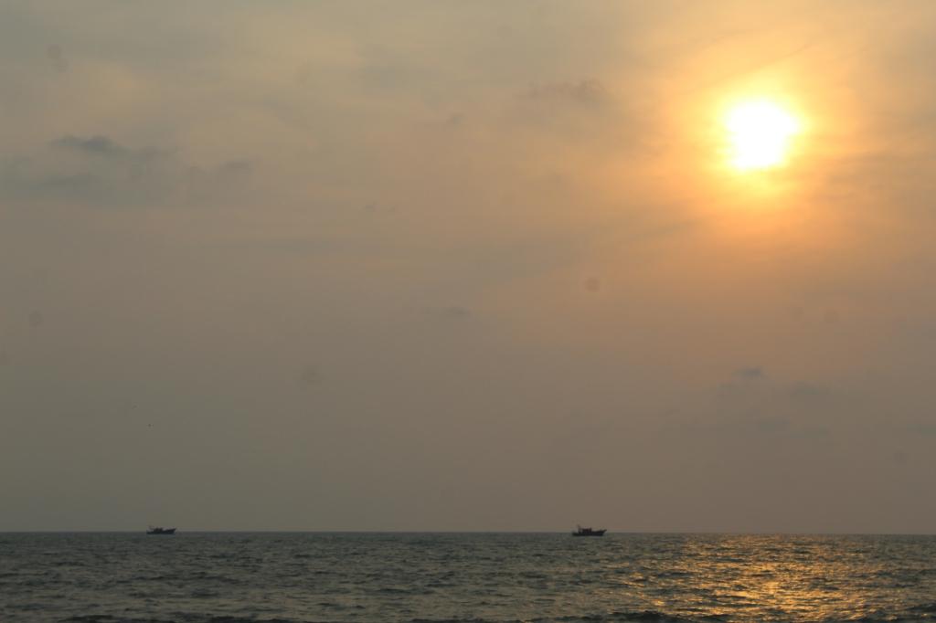 Mararikulam North, Kerala, India - Sunset at the beach near our cabin