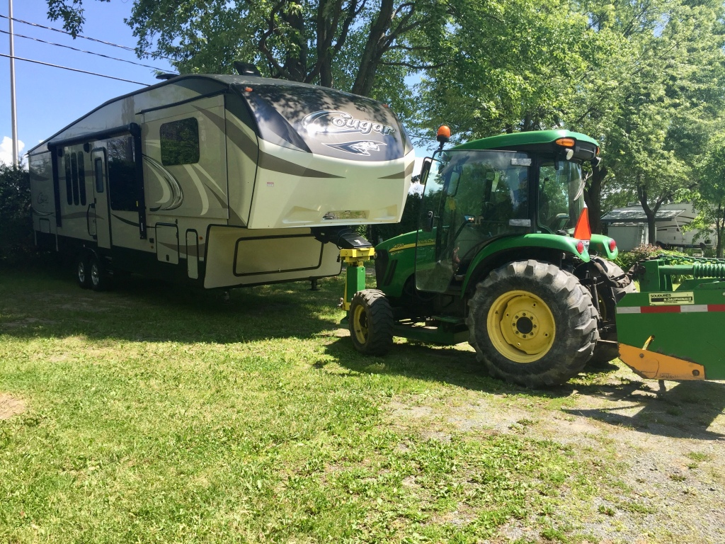 June- 2019 - Sainte-Madeline, Quebec - With the truck in repair, the RV park helped park our 5th Wheel into her spot for the week