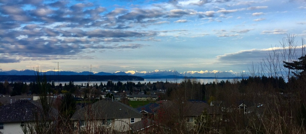 March, 2020 - Vancouver Island, British Columbia - Campbell River - View of the mainland Coastal Mountains from our neighborhood