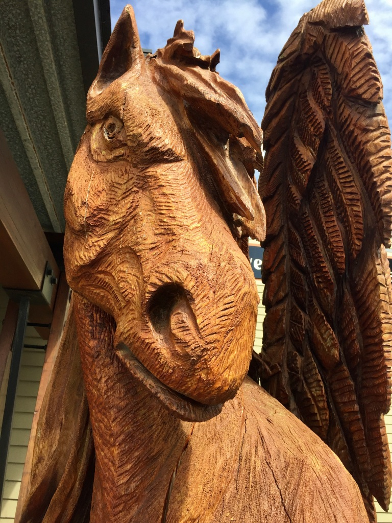 April - 2020 - Campbell River - Wood carving - Winged horse