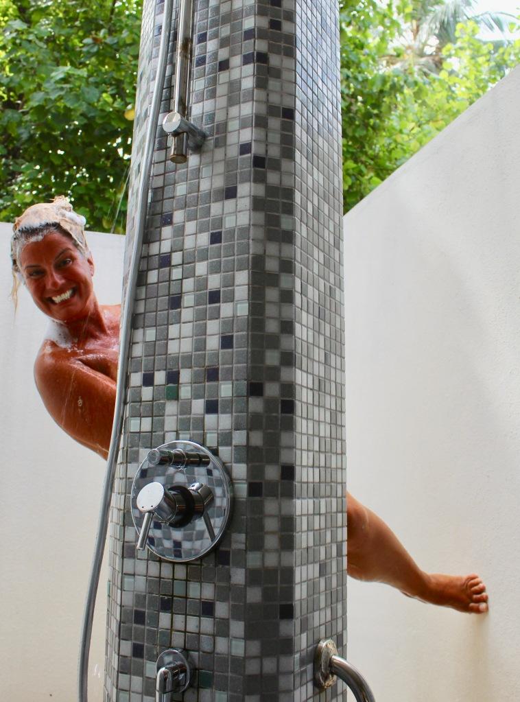 June - 2020 - Maldives - Outdoor shower in our beach villa!