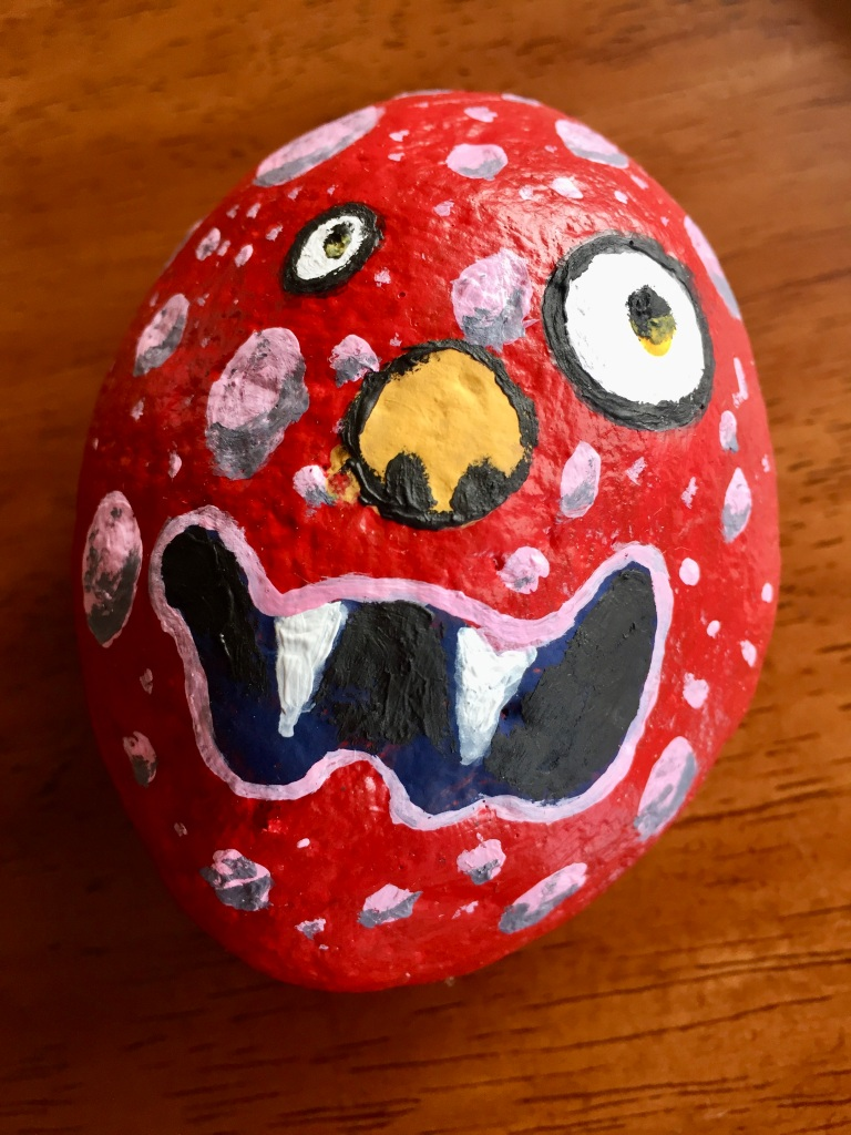 April, 2020 - Campbell River, Vancouver Island, British Columbia - Michael and I started painting rocks! Here is Michael's first one! My rock is still a work-in-progress!!!