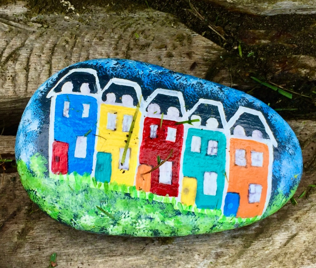 May, 2020 - Campbell River, Vancouver Island, British Columbia - Close up of one of the hand-painted rocks - JellyBean Row, St. John's, Newfoundland