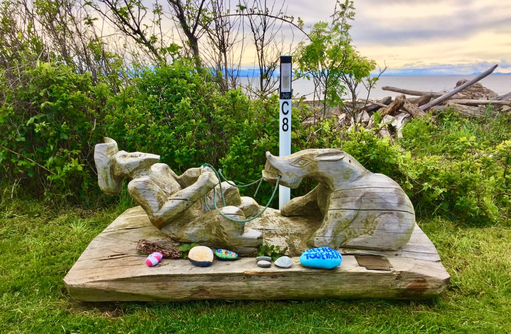 May, 2020 - Campbell River, Vancouver Island, British Columbia - SeaWalk is decorated with wood carvings and many hand-painted rocks!