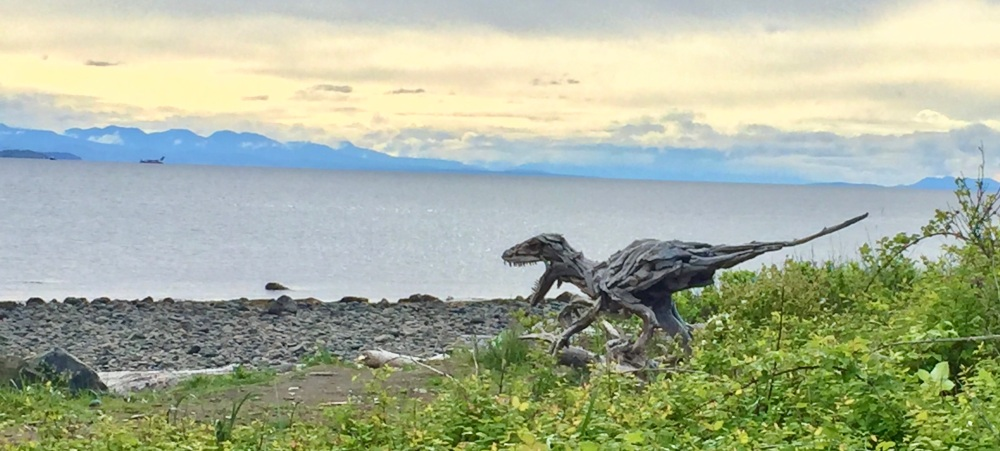 May, 2020 - Campbell River, Vancouver Island, British Columbia - Velociraptor made of driftwood on SeaWalk Beach