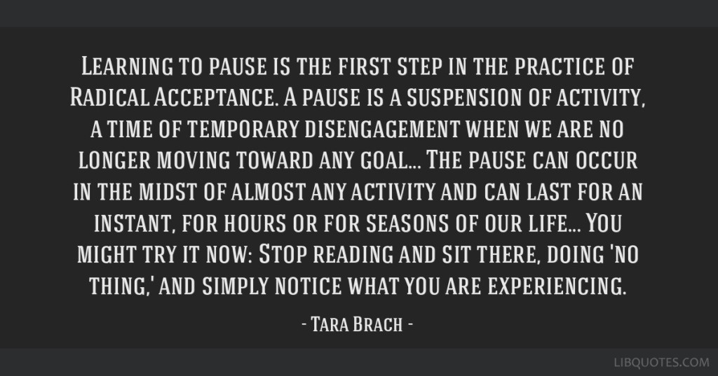 Tara Brach Quote - Learning to Pause