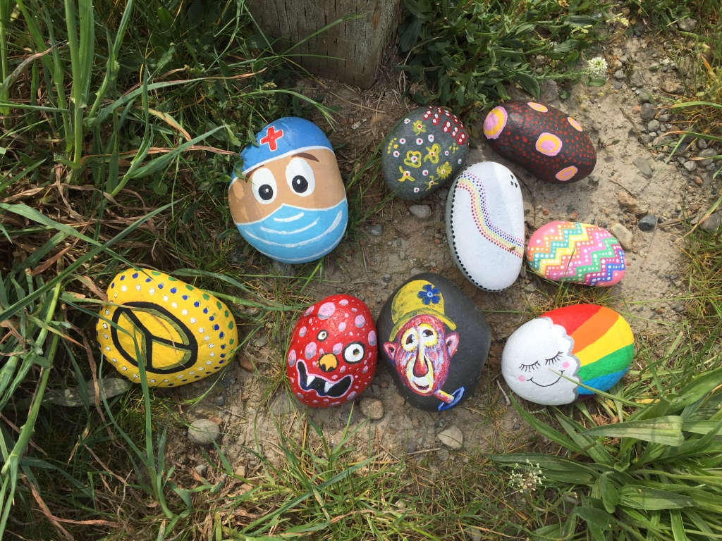 Spring/Summer 2020 - Campbell River, Vancouver Island, British Columbia - Painted Rocks - Our painted rocks added to the collection at the duck pond! Michael also painted the red monster rock!