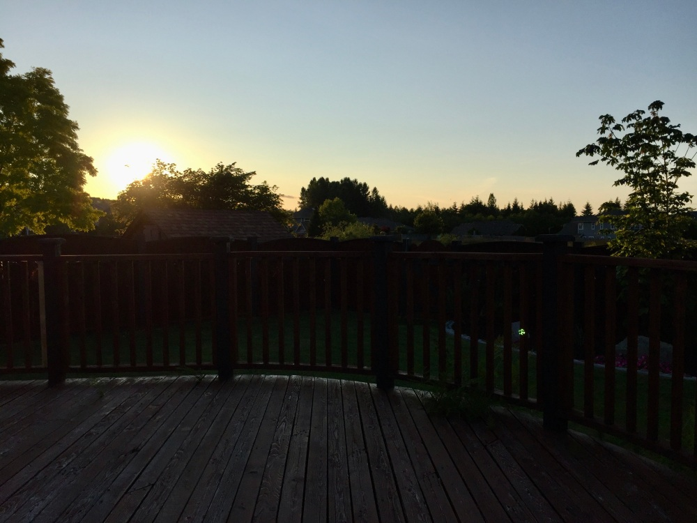 Spring/Summer 2020 - Campbell River, Vancouver Island, British Columbia - Sunset on the back deck