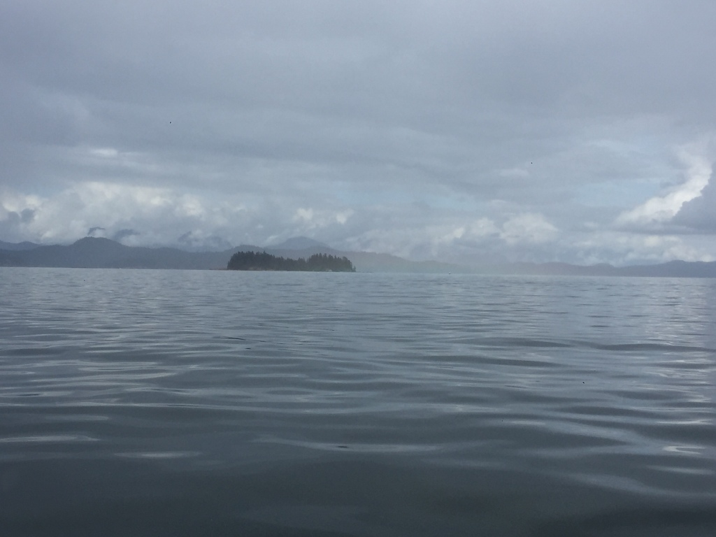July 16th - Quadra Island, British Columbia - Kayaking - Rain moving across the open bay
