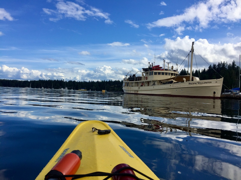 July 16th - Quadra Island, British Columbia - Kayaking - Arriving back to the dock - Impressive boat - Pacific Yellowfin