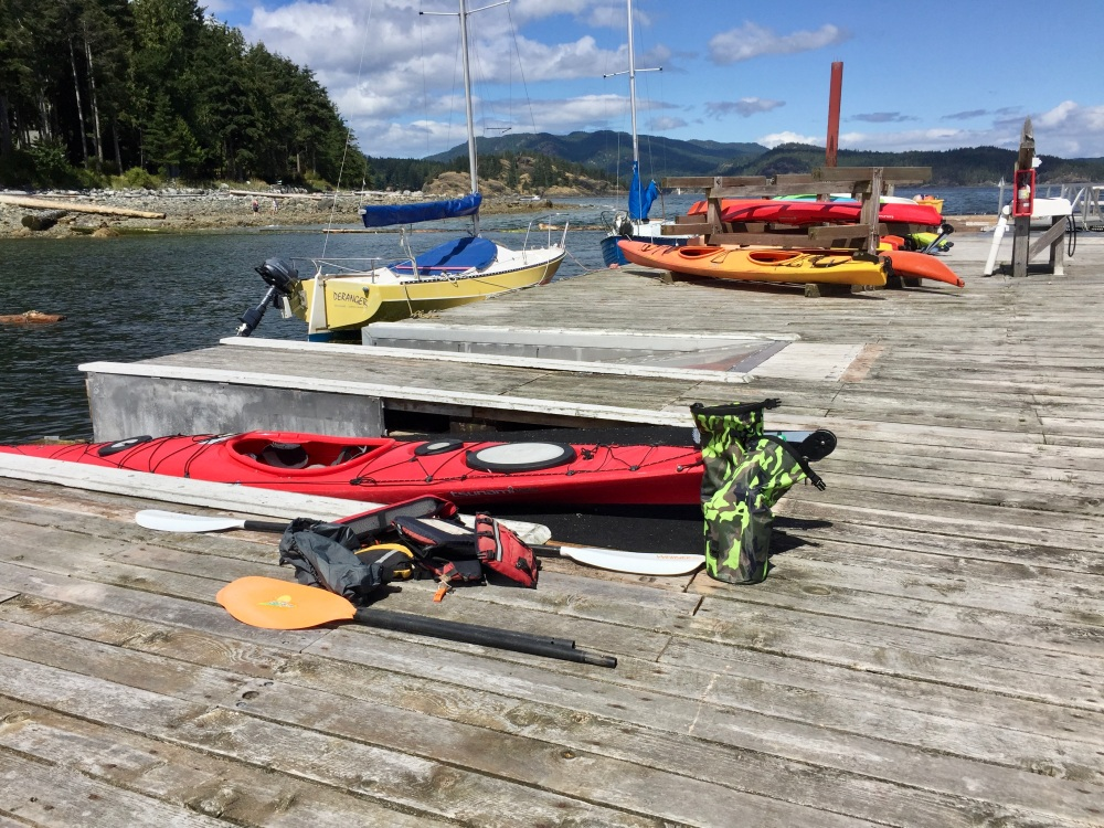 July 24th, 2020 - Heriot Bay - Quadra Island Kayaks - preparing to launch